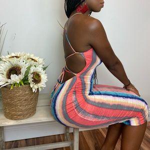 ‼️ Stripe X Back Tie Back Midi Dress Multicolor